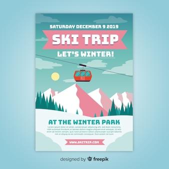 Cartaz de viagem de esqui funicular