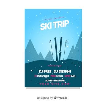 Cartaz de viagem de silhueta de esqui