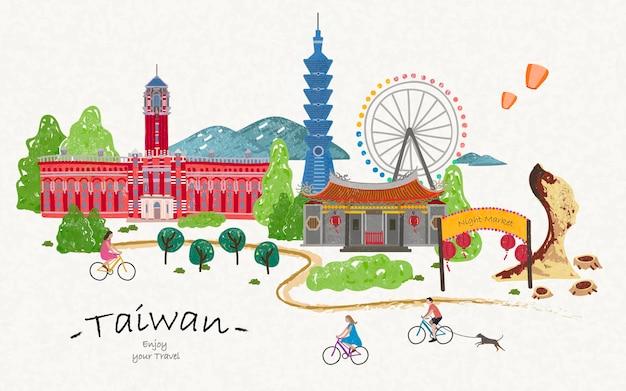 Cartaz de viagem de taiwan desenhado à mão, lindas atrações para sua viagem.