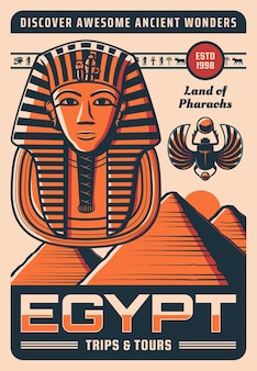 Cartaz de viagem do egito com pontos de referência egípcios antigos