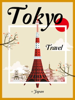 Cartaz de viagem fascinante do japão com a torre de tóquio