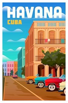 Cartaz de viagem vetorial de havana cuba