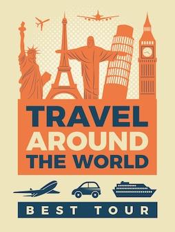 Cartaz de viagens com ilustrações de monumentos famosos.