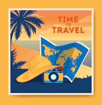 Cartaz de viagens com praia, mapa e câmera