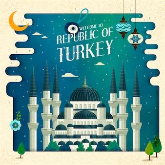 Cartaz de viagens da turquia com ilustração de mesquita, superfície do céu noturno