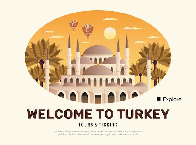 Cartaz de viagens da turquia com símbolos de tours e ingressos