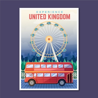 Cartaz de viagens de férias do reino unido