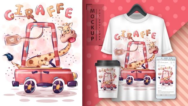 Cartaz de viagens de girafa e merchandising