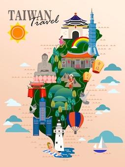 Cartaz de viagens de taiwan, mapa de taiwan com atrações famosas. abençoado e feliz em chinês na lanterna do céu.