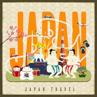 Cartaz de viagens do japão com símbolos culturais famosos