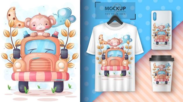 Cartaz de viagens do macaco e merchandising