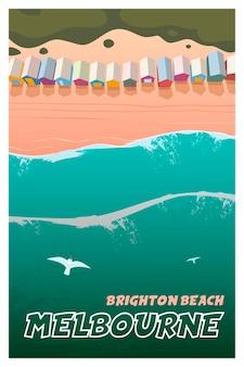 Cartaz de viagens do vetor melbourne brighton beach