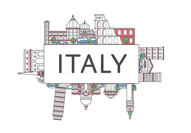 Cartaz de viagens itália no estilo linear