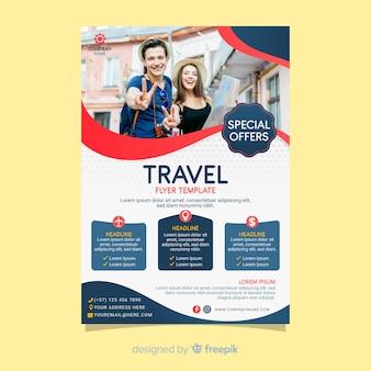 Cartaz de viagens modelo com foto