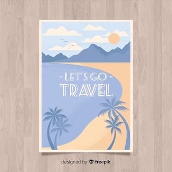Cartaz de viagens promocionais vintage plana