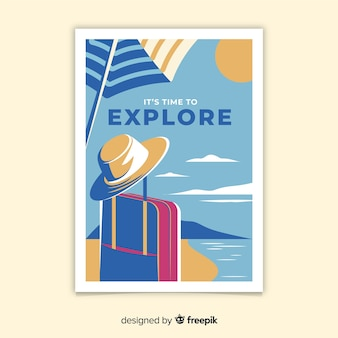 Cartaz de viagens vintage design plano