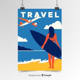 Cartaz de viagens vintage plana