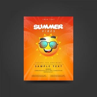 Cartaz de vibrações de verão com sol em óculos de sol