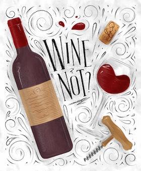 Cartaz de vinho com letras de vinho sem saca-rolhas ilustrado de garrafa de vidro em estilo vintage