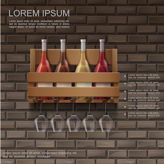 Cartaz de vinho realista com garrafas cheias em uma caixa de madeira e taças de vinho na parede de tijolos