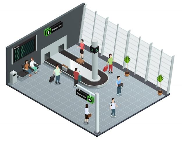 Cartaz de visão isométrica de carrossel de bagagem de aeroporto moderno com passageiros esperando bagagem