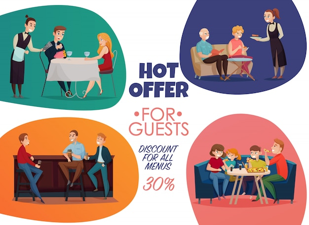 Cartaz de visitantes de pub de restaurante plano colorido com oferta quente para descontos de convidados para todas as descrições de menus