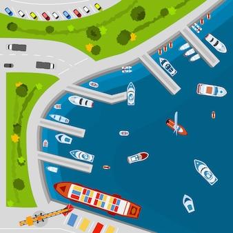 Cartaz de vista aérea superior de porto à beira-mar