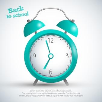Cartaz de volta às aulas com despertador