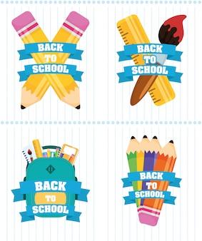 Cartaz de volta às aulas com inscrições e suprimentos definidos