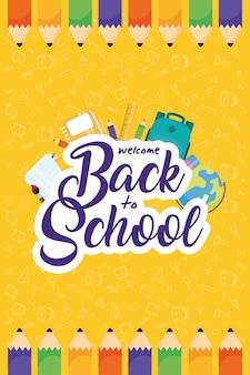 Cartaz de volta às aulas com lápis de cor e material