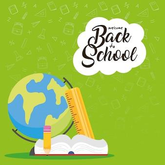 Cartaz de volta às aulas com livro e planeta terra