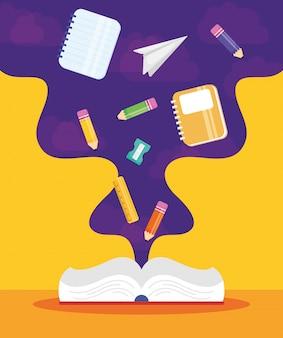 Cartaz de volta às aulas com livro e suprimentos