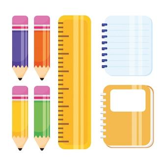 Cartaz de volta às aulas com material definido