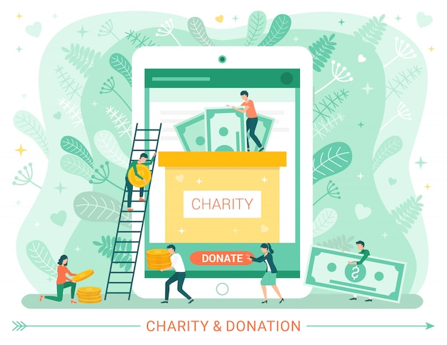 Cartaz de web de doação de caridade, pessoas doam dinheiro