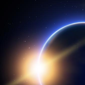 Cartaz decorativo do espaço com luz vinda de trás do planeta terra e uma bela linha brilhante como a cauda de um cometa