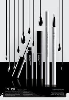 Cartaz delineador cosmético com embalagem