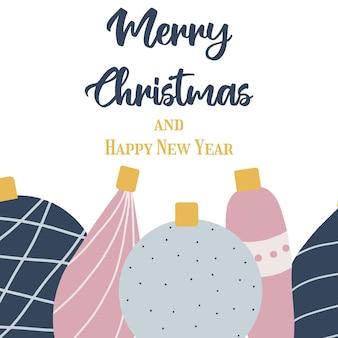 Cartaz desenhado à mão com brinquedos de ano novo cartão de felicitações de natal com brinquedos de natal