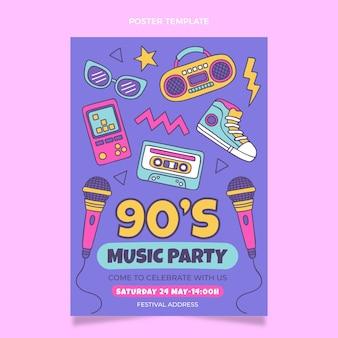Cartaz desenhado à mão do festival de música nostálgica dos anos 90