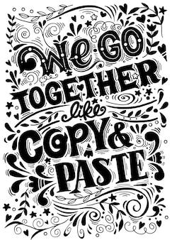 Cartaz desenhado de mão com citações engraçadas