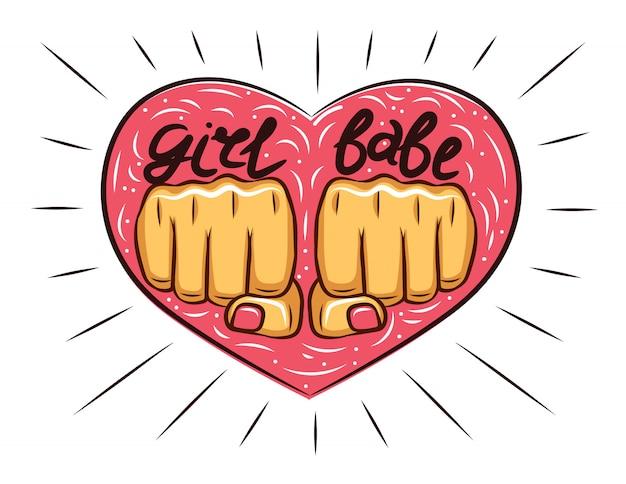 Cartaz desenhado de mão com inscrição girl babe