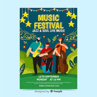 Cartaz desenhado de mão para festival de jazz e alma