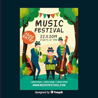 Cartaz desenhado de mão para festival de música