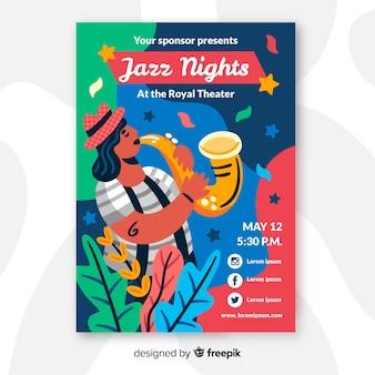 Cartaz desenhado de mão para o festival de noites de jazz