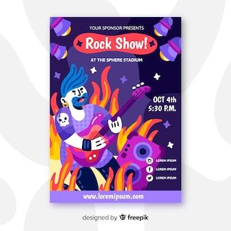 Cartaz desenhado de mão para show de rock