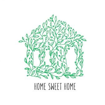 Cartaz desenhado lar doce lar mão. ilustração em vetor vintage.