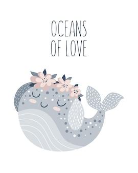 Cartaz desenhado mão de vetor para decoração de berçário com baleia bonita e slogan adorável. ilustração do doodle. perfeito para chá de bebê, aniversário, festa infantil, feriado de primavera, estampas de roupas