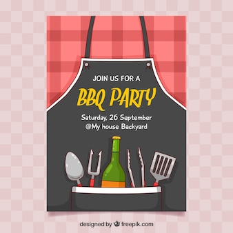 Cartaz desenhado mão do partido do BBQ
