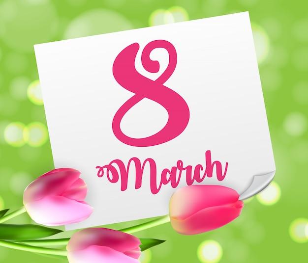 Cartaz dia feliz das mulheres s internacional cumprimento floral de 8 de março