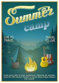Cartaz do acampamento de verão
