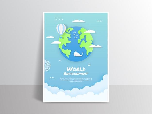 Cartaz do ambiente mundial com elementos de decoração